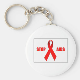 STOP AIDS BASIC ROUND BUTTON KEY RING