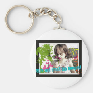 stop and smell the flowers basic round button key ring