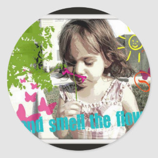 stop and smell the flowers round sticker