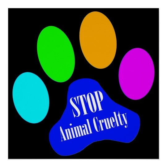 Stop Animal Cruelty Poster (black)