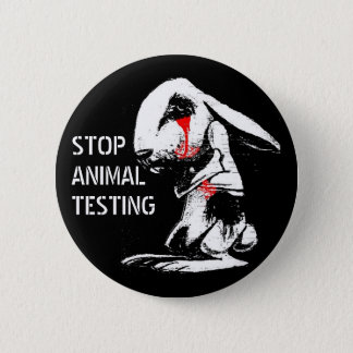 STOP ANIMAL TESTING 6 CM ROUND BADGE