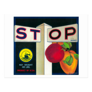 Stop Apple Crate LabelCutler, CA Postcard