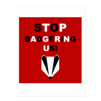 STOP BADGERING US (badger cull protest) Postcard