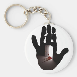 STOP! BASIC ROUND BUTTON KEY RING