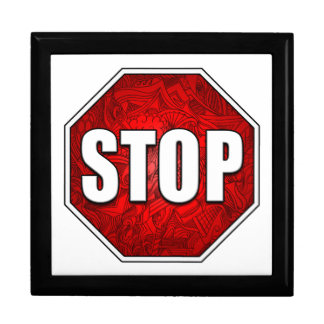 STOP! Bright Bold Red Stop Sign Zen Art/Design Large Square Gift Box