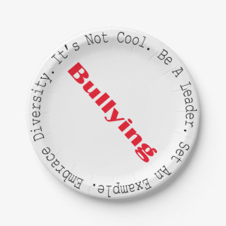 Stop Bullying-Outline by Shirley Taylor 7 Inch Paper Plate