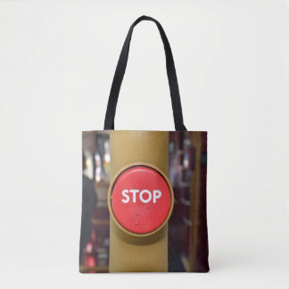 Stop button all-over-print tote bag