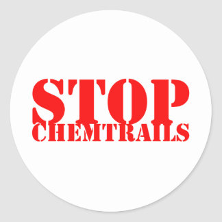 Stop Chemtrails - Adhesive Redondo Classic Round Sticker