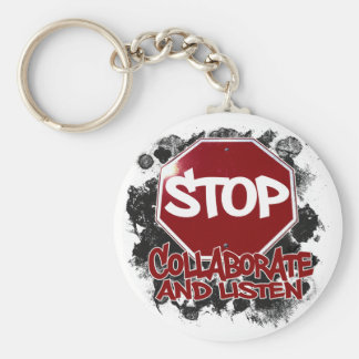 Stop! Collaborate and Listen. Basic Round Button Key Ring