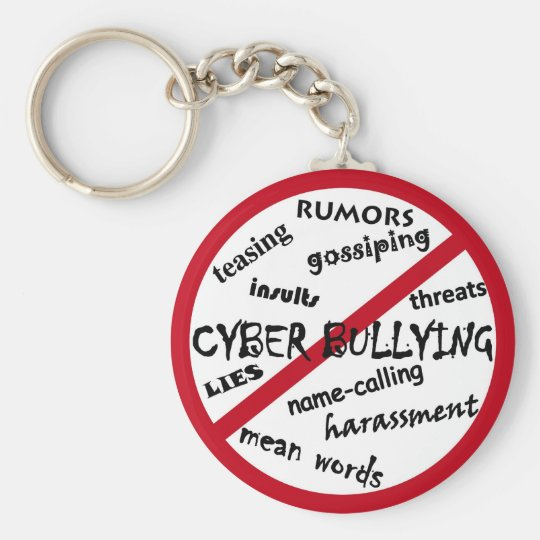 Stop Cyber Bullying Basic Round Button Key Ring