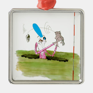 stop digging - golf, tony fernandes Silver-Colored square decoration