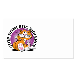 Stop Domestic Violence Cat Business Card Template