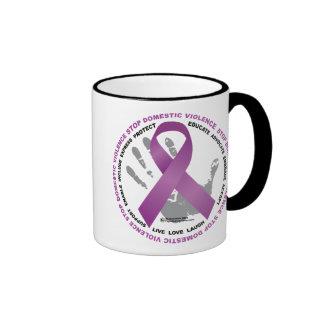 Stop Domestic Violence Ribbon Mugs