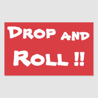 STOP Drop and Roll Stop Sign Sticker