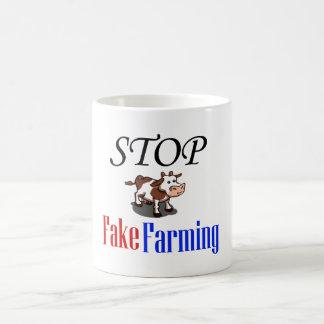 Stop Fake Farming Basic White Mug