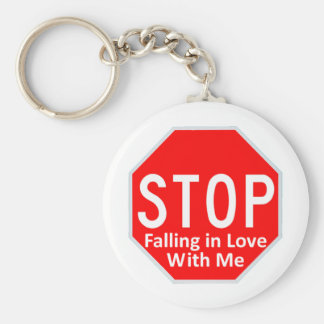Stop Falling In Love Basic Round Button Key Ring