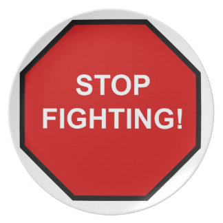 Stop Fighting Party Plate