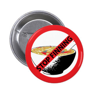 STOP FINNING SHARKS 6 CM ROUND BADGE