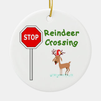 STOP for Santa's Reindeer! Round Ceramic Decoration