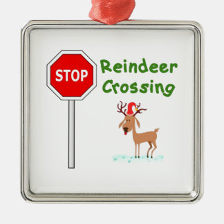 STOP for Santa's Reindeer! Silver-Colored Square Decoration