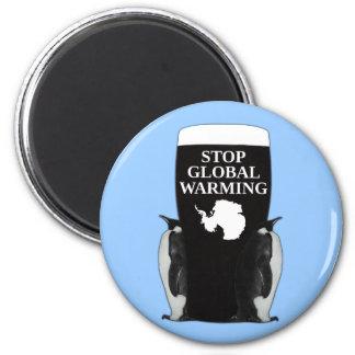 Stop global warming 6 cm round magnet