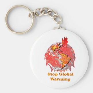 Stop Global Warming Basic Round Button Key Ring