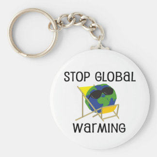 Stop Global Warming Basic Round Button Key Ring