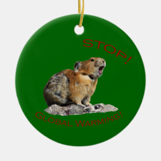 Stop Global Warming Double-Sided Ceramic Round Christmas Ornament