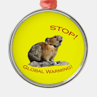 Stop Global Warming Silver-Colored Round Decoration