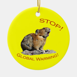 Stop Global Warming Round Ceramic Decoration