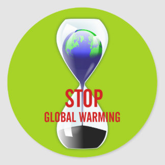 Stop Global Warming Hourglass Sticker