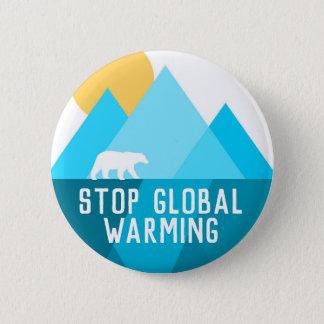 Stop Global Warming Polar Bear Glacier Button