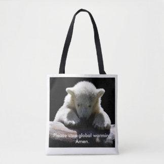 Stop Global Warming Polar Bear Tote Bag