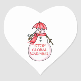 STOP GLOBAL WARMING HEART STICKERS