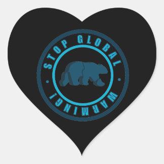 Stop global warming vintage circle design heart sticker