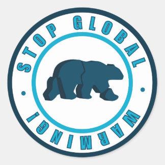 Stop global warming vintage circle design round sticker