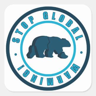 Stop global warming vintage circle design square sticker