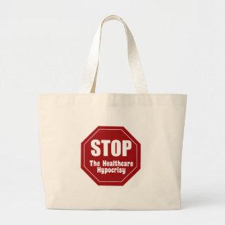 Stop Healthcare Hypocrisy Large Tote Bag