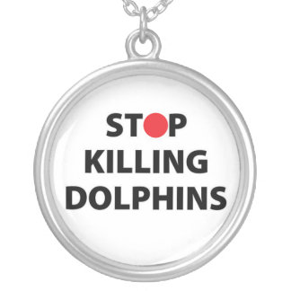 Stop Killing Dolphins Japan Japanese Taiji Animals Silver Plated Necklace