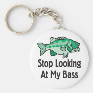 Stop Looking at my Bass Basic Round Button Key Ring