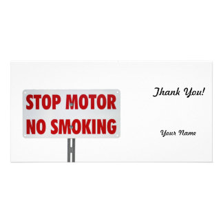Stop Motor No Smoking Picture Card