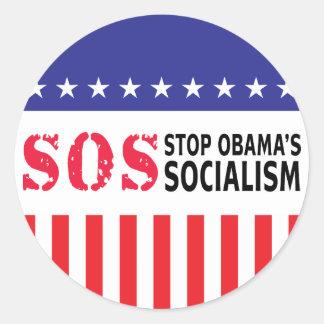 Stop Obama's Socialism - SOS Round Sticker