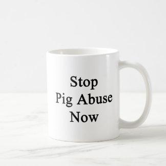 Stop Pig Abuse Now Basic White Mug