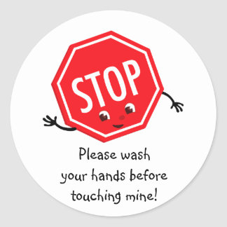 Stop Please Wash Sticker