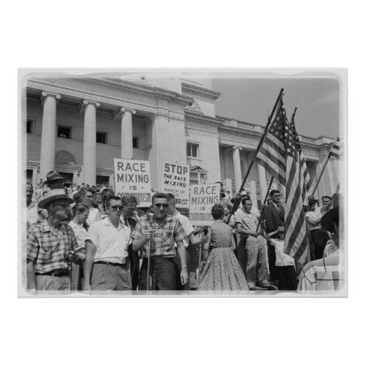 Stop Race Mixing Civil Rights Movement Protest Print