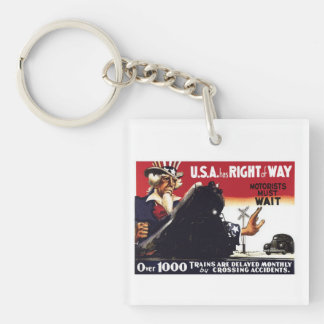 Stop Railroad Crossing Accidents Double-Sided Square Acrylic Key Ring