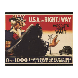 Stop Railroad Crossing Accidents Wood Canvases