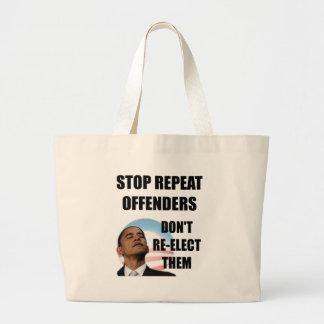 Stop Repeat Offenders - Anti Obama Jumbo Tote Bag
