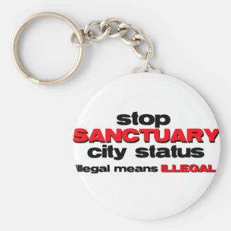 stop sanctuary city status basic round button key ring