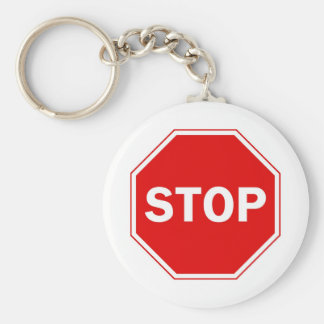 Stop Sign Basic Round Button Key Ring